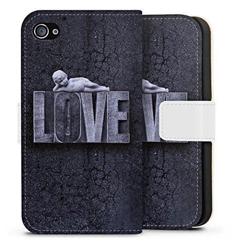 Apple iPhone X Silikon Hülle Case Schutzhülle Love Schwarz Weiß Engel Sideflip Tasche weiß