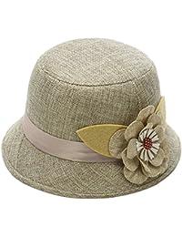 Weimay Sunhat Leinen-Summer Beach Sun Stroh Cap Hollow Weave Jazz Hat f/ür Frauen Meine Damen