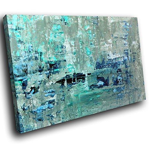 AB1582A gerahmte Leinwanddruck Bunte Wand-Kunst - Blau Teal Grau Cool - modernes abstraktes Wohnzimmer Schlafzimmer Bild Stück Wohnkultur Interior Design Einfach Hang Guide - Teal Grau-wand-kunst