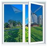 Spiegelfolie, Queta Fensterfolie Selbstklebend Sonnenschutzfolie Türfolie Glasfolie Anti UV Fenster Folie Klebefolie, Blaues Silber 50 * 200 cm