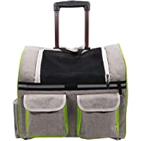 Emily Pets Pet Rolling Carrier with Wheel Cat & Dog Luggage Backpack for Pet Traveling (Silver-Gray)