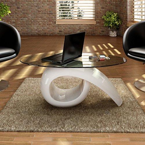 #Anself Couchtisch oval mit Glasplatte#