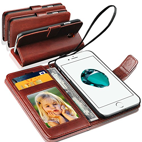 IPhone 7 Plus Case Cover - GBOS® Schwarz antiken Reiche Leder Stand Wallet Flip Case Cover Brown