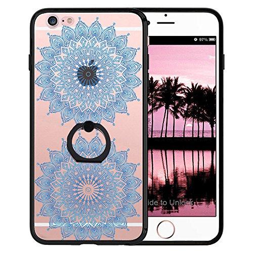 Coque iPhone 6S Plus, TrendyBox Transparent Noir Givré Anti-rayures Rotation Bague Case pour iPhone 6/6S Plus avec verre trempe film de protection (Bohémien) 1006