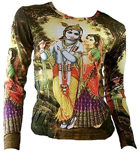 Ticila Damen Langarm T-Shirt Grün Hindu Deities Lord KRISHNA und RADHA Bhakti mit Flöte Psychodelic Goa Trance Dj Beach Party Kunst Art Religion Star Designer Vintage Tattoo Design L 42 (Tattoo Design T-shirt)