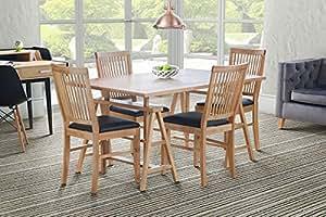 MY-Furniture - Table de salle à manger/bureau en chêne massif Ivar, rustique, sur tréteaux, 6 places - ARTISAN
