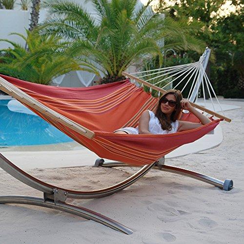 Luxus Hängematten-Set Chico Alpha aus Edelstahl mit Rad und Stabhängematte Jamaica red earth