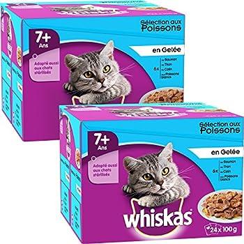 Whiskas sachets fraîcheur aux Poissons en gelée pour chats de 7+ 24x100g - Lot de 2 (48 Sachets fraîcheur)
