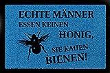 FUSSMATTE Türvorleger ECHTE MÄNNER Essen KEINEN Honig Imker Biene Hobby Türmatte Royalblau