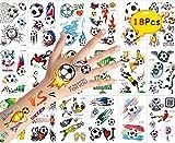 Blesser Tattoo, für Kinder, temporäre Tätowierungen, für Damen, Herren, Mädchen, Jungen, Tattoo, Fußball, Aufkleber, für Kinder, Geschenk, Geburtstag, Party, Fußball, 18 Blatt