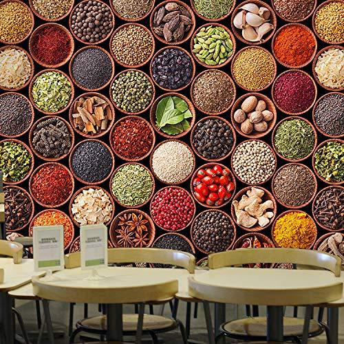 Fototapete Tapete Wanddeko Home Decor-3D Chinesisches Restaurant Essen Gewürz Wandbild Retro Bbq Hot Pot Restaurant Restaurant Streicher Hintergrundbild Wallpaper 430Cmx300Cm (169.3 By 118.1 In)