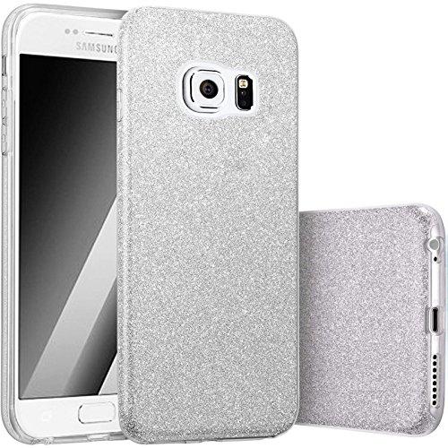 FINOO | Iphone 6 Plus / 6S Plus Rundum 3 in 1 Glitzer Bling Bling Handy-Hülle | Silikon Schutz-hülle + Glitzer + PP Hülle | Weicher TPU Bumper Case Cover | Gold Silber