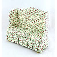 Dolls House Miniature Living Room Furniture Cherry Chintz Sofa 1:12 Scale