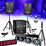 System Pack Sono DJ 2200W bms1512Sonic Lautsprecher + Subwoofer USB/Bluetooth + Füße + Stange 4Spiele Licht PAR3612x 3W LEDs RGB–DMX–Pedal + Telefonnummer
