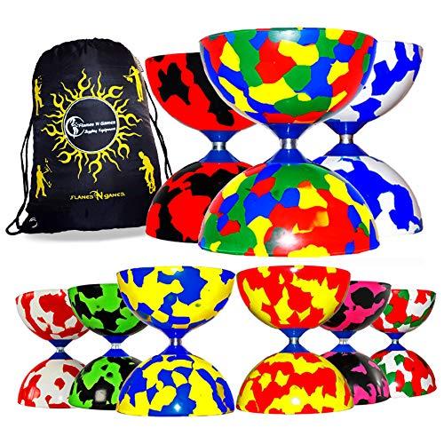 Jester Diabolo (8 Farbvarianten) + Flames N Games Reisetasche! **Kein Diabolo Handstäbe oder String inklusive. (Grün/Rot/Weiß)