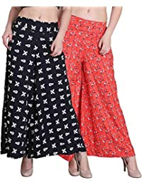 Shmayra Regular Fit Women's Multicolor Palazzo Pants For Womens Trousers Combo (Pack Of 2)
