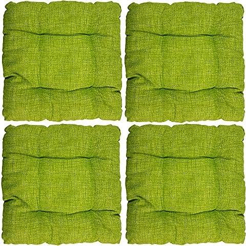 4er Set proheim Outdoor Stuhl-Kissen 40 x 40 x 8 cm wasserabweisendes Sitz-Kissen mit Fleckenschutz stark gepolstertes Weichstuhl-Kissen für Indoor und Outdoor, Farbe:Apfelgrün
