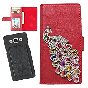 DooDa PU Leather Wallet Flip Case Cover With Rhinestone Peacock in Front And Card & ID Slots For Nokia Asha 501