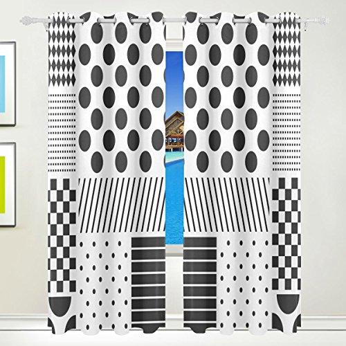 XiangHeFu Schöne Einrichtung Verdunklungsvorhänge mit Tülle Top Polka Dots Patchwork schwarz weiß Vorhänge Set von 2Platten, je 55W x 84L Zoll für Home Wohnzimmer Schlafzimmer Büro (Schwarzen Und Polka-dot-platten Weißen)