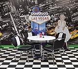HOWE-Deko Tischgruppe San Diego, American Diner Style; Runder Bistrotisch und 4 Bistrostühle; Bezug: schwarz/weiß; Tischplatte polarweiß