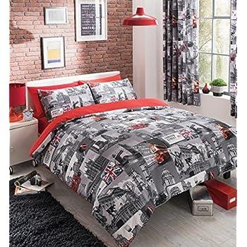Housse de couette parure lit double 200x200 cm avec taies d 39 oreiller imprim r versible poly - Grand lit double 200x200 ...