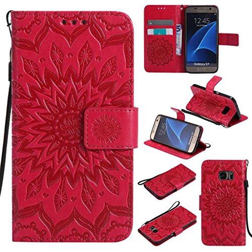 BoxTii Coque Galaxy S7, Etui en Cuir de Première Qualité [avec Gratuit Protection D'écran en Verre Trempé], Housse Coque pour Samsung Galaxy S7 (#5 Rouge)