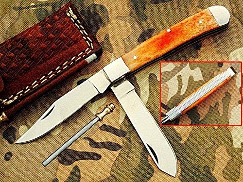 faite à la main 18 cm Trapper double lames Awesome couteau de poche pliant fabriqué avec 420 D2 en acier et manche en os de chameau : (Bdm-34)