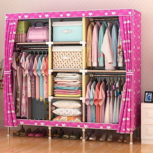 GL&G Kleiderschrank Schrank Oxford Tuch frei stehende Lagerung Organizer – Home finishing Dekoration Portable, abnehmbare und Stahl Rohr leichte Kleidung Schrank ,F,65'' *67''