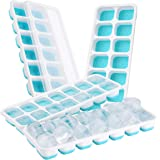 Upgrade Version Eiswürfelform, TopElek mit Deckel Eiswuerfelform aus Silikon Eiswürfelform Silikon Silikon Unten Ice Tray Ice Cube 14-fach Eiswürfel, 4er Pack, LFGB Zertifiziert, Einfach zu bedienen.