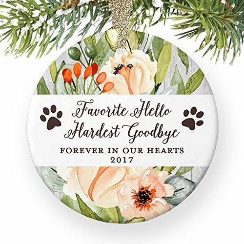 nament Hund Memorial Favorite Hello härtesten Goodbye Weihnachtsgeschenk in Memory of Familie Pet Paw Prints Ornaments für das Handwerk Keramik ()
