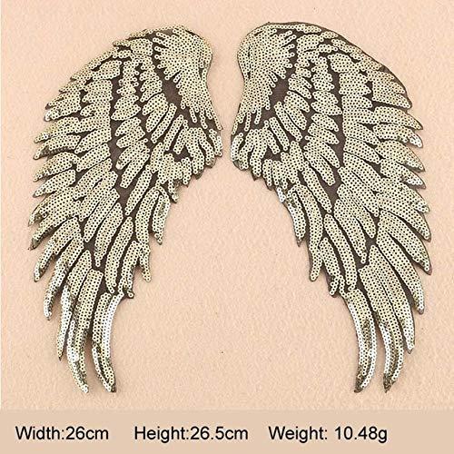 Shoppy Star Aufnäher Angel Wings Patches 3D Feder Applikation Pailletten Patch Bestickt Patch Motiv DIY Aufkleber Aufbügler Patch 1 Paar: Gold ()