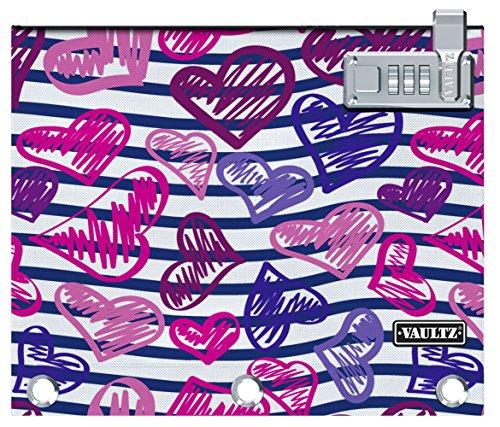 Vaultz Verschlussbindertasche, 24,6 x 20,3 x 2,5 cm, Streifen/Herz 23 Stripes/Heart