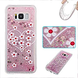 Guran® Funda para Samsung Galaxy S8 Moda Carcasa Quicksand Lentejuelas Sparkle TPU Funda Suave Funda Protectora Ladies Funda (Margarita)