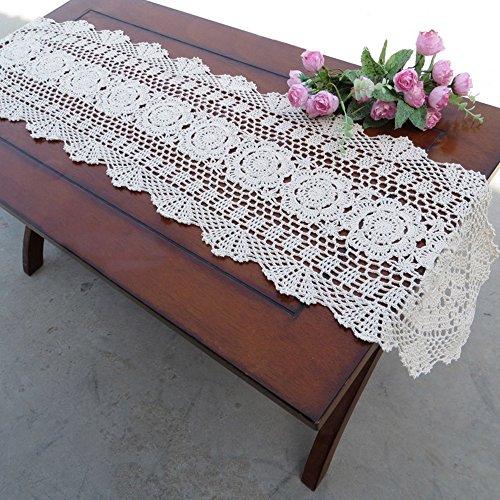 Yazi Floral Tischläufer Hand Crochet Ovales weiß Tisch Deckchen Baumwolle für Küche Dekoration 30x 120cm - Küche Oval Tisch