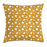 VVIANS Tennis Throw Pillow Cushion Cover by, Ping Pong Rackets and Balls on a Warm Toned Backdrop Monochrome Sports Pattern, Decorative Square Accent Pillow Case, Orange White20X20 inch