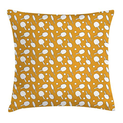 Cushion Cover, Ping Pong Rackets and Balls on a Warm Toned Backdrop Monochrome Sports Pattern, Decorative Square Accent Pillow Case, 18 X 18 inches, Orange White ()