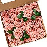 Fiori Artificiali, ACDE Rosa Artificiali 25 Pezzi Rose Finte Schiuma Aspetto Reale con Foglia e Gambo Regolabile per DIY Matrimoni Mazzi Nuziale Festa Casa Stanza Decorazioni (Rosa)