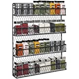 4 Tier Black Country Rustic Chicken Wire Pantry, Cabinet or Wall Mounted Spice Rack Storage Organizer by MyGift