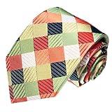 Lorenzo Cana - Karo Luxus Krawatte aus 100% Seide, lachs rot beige - exklusive handgefertigte Krawatte - 84268