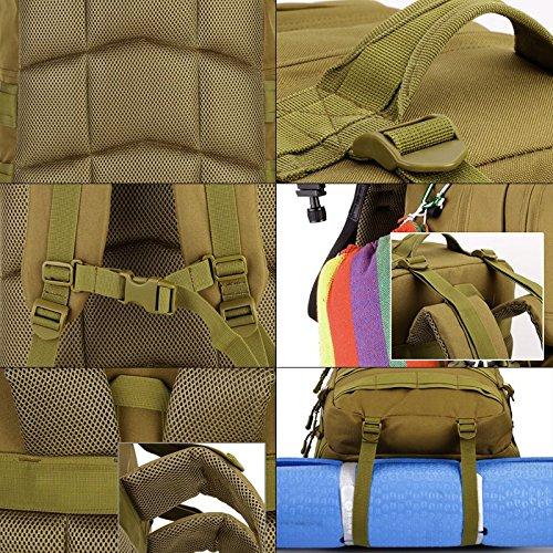 Unisex Zaino Tattico Militare Zaino 55 Litri Backpack per Viaggio Escursione Campeggio Alpinismo Trekking Outdoor Sport, Marrone Scuro Marrone Scuro