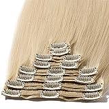 Extension a Clip Pas Cher [Double Wefts] [Curve Design Adapte Tête] Pose & Dépose Facile (10'=25cm, 110g) [ 60#Blond Platine ]
