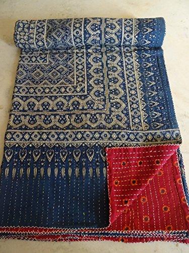 indischen Überwurf Betten, Applikationen Kantha Steppdecke, Baumwolle indischen Sari gesteppt, reversibel Tagesdecke, Hand Stiche ajrakh Block Print Steppdecke, indischen Überwurf Boho Betten Gudri Ralli