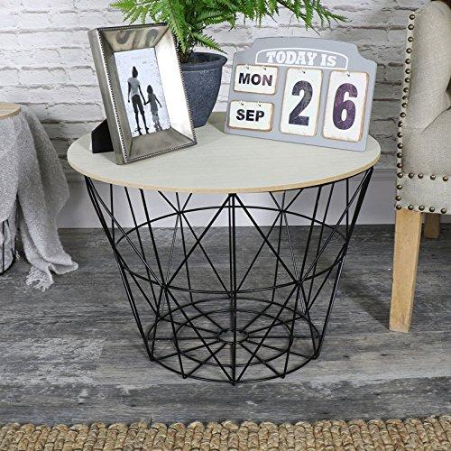 Panier en métal Noir Métal Plateau en bois table d'appoint