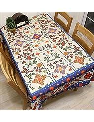 LILSN- Elegante estilo europeo de la flor de la vid Real algodón Mantel Mantel Mantel Pequeño fresco restaurante de gran tamaño de la tabla de café cubiertos de paño ( Tamaño : 140*230 Cm )