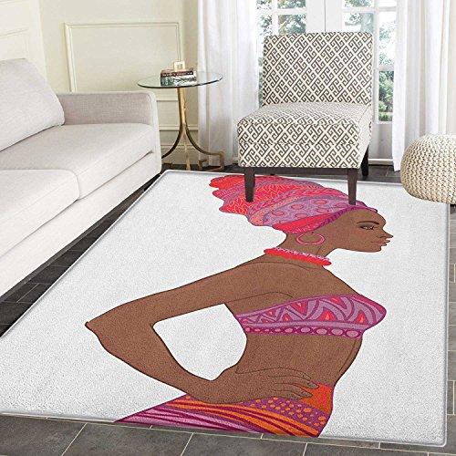 Yaoni Afrikanerin Rutschfeste Teppiche schöne Zulu Frau mit Sexy Bandage Kleid Halskette weibliche Fußmatten für drinnen Nicht Verrutschen sichern 4'x 5' Schokolade lila dunkel Coral - 5' Schokolade