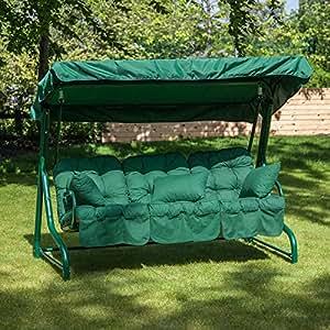 Roma 3Sitzer Garten Schaukel Sitz–Grün Rahmen mit Classic Kissen in einer Auswahl von Prints
