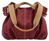 Aivtalk - Rétro Sac à Main/Bandoulière/Porte Epaule Besace en Toile Large Capacité Sacoche Bag Casual Bag pour Femme Fille Loisir Vintage Sport Activité d'Extérieur 30*35*17CM - Violet