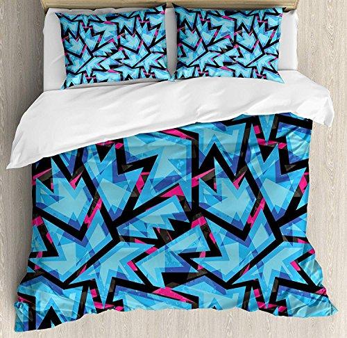 Abstract 3 Stück Bettwäsche Set Bettbezug Set, Trippy Neon Figures im Gegensatz zu Grunge Digital Effects Illustration, 3 Stück Tröster/Qulit Cover Set mit 2 Kissenbezügen, Sky Blue Black Pink