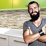 Küchenrückwand selbstklebend Pro ' STEINWAND ASHLAR ' 60 x 60cm DIY - Do It Yourself PVC Spritzschutz