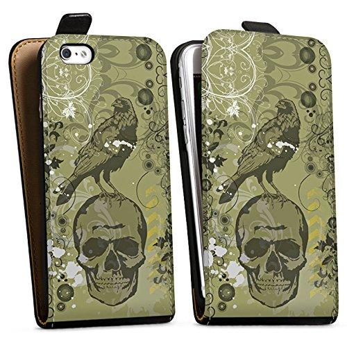 Apple iPhone X Silikon Hülle Case Schutzhülle Rabe Totenkopf Skull Downflip Tasche schwarz